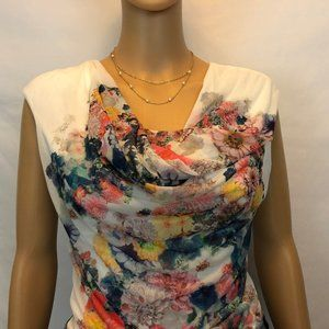 H&M Short Sleeve Sheer Lined Floral Print Blouse